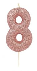 Number 8 Rose Gold Glitter Candle